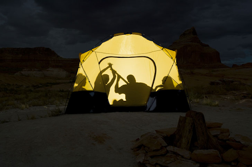 Showing the privacy problem of silhouettes in a camping tent